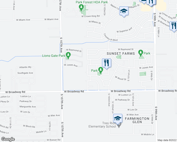 map of restaurants, bars, coffee shops, grocery stores, and more near 10437 West Atlantis Way in Tolleson