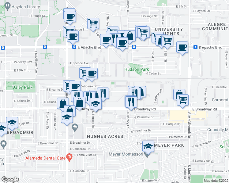 map of restaurants, bars, coffee shops, grocery stores, and more near 1193-1293 East Vista Del Cerro Drive in Tempe