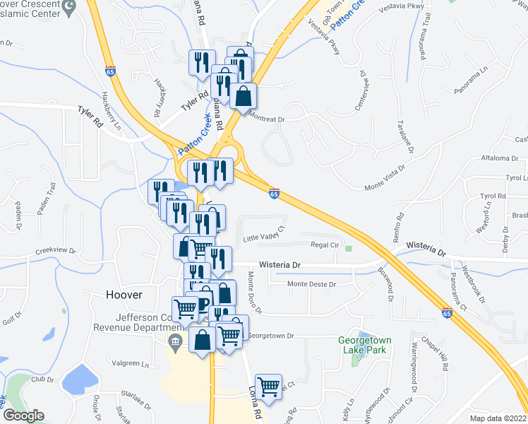 map of restaurants, bars, coffee shops, grocery stores, and more near 2250 Little Valley Road in Hoover