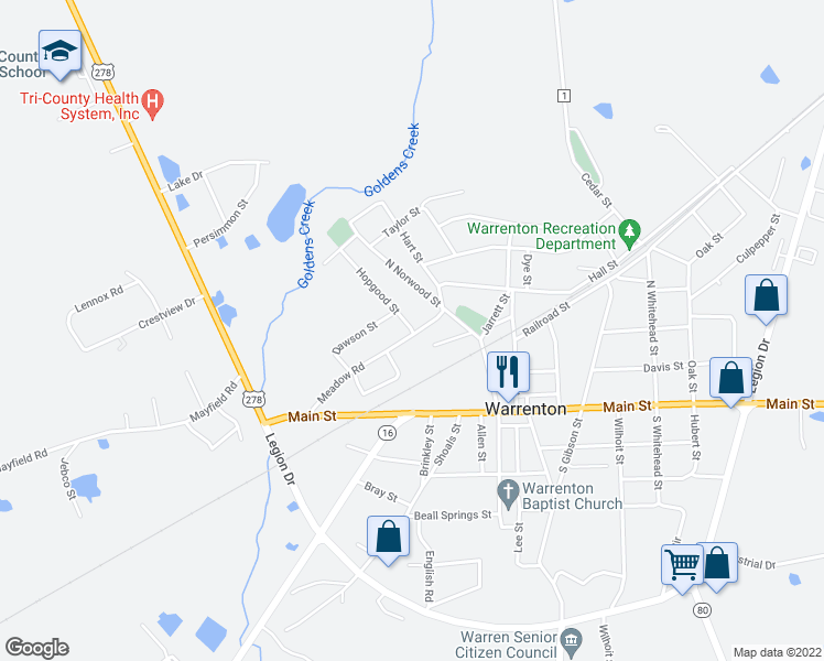 map of restaurants, bars, coffee shops, grocery stores, and more near 200-210 Meadow Road in Warrenton