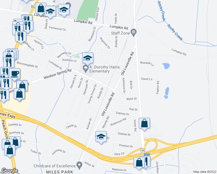 map of restaurants, bars, coffee shops, grocery stores, and more near Windsor Spring Road in Augusta