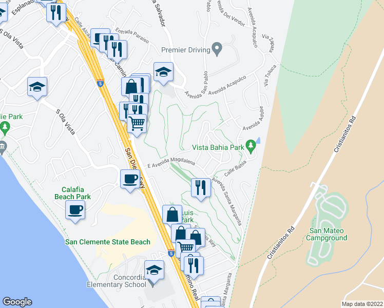 map of restaurants, bars, coffee shops, grocery stores, and more near 212 Los Bautismos Lane in San Clemente
