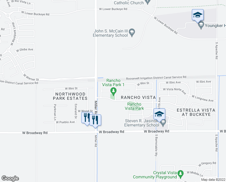 map of restaurants, bars, coffee shops, grocery stores, and more near 24981-24989 West Vista Norte Street in Buckeye