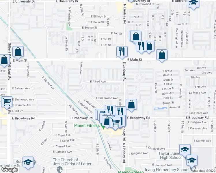 map of restaurants, bars, coffee shops, grocery stores, and more near 2701 East Allred Avenue in Mesa