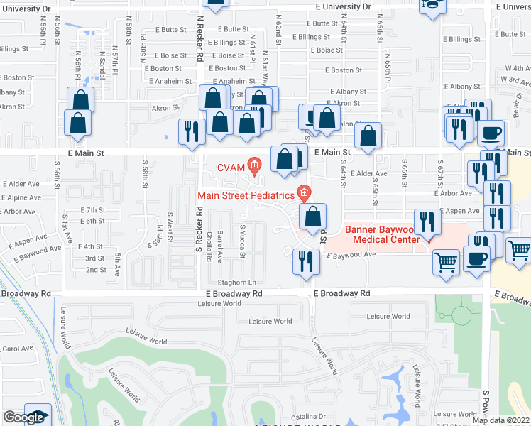 map of restaurants, bars, coffee shops, grocery stores, and more near 6145 East Arbor Avenue in Mesa
