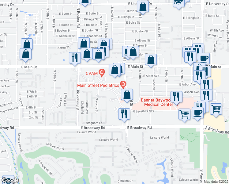 map of restaurants, bars, coffee shops, grocery stores, and more near 6215 East Arbor Avenue in Mesa