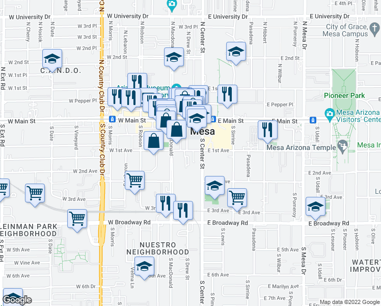 map of restaurants, bars, coffee shops, grocery stores, and more near 25 West 1st Avenue in Mesa