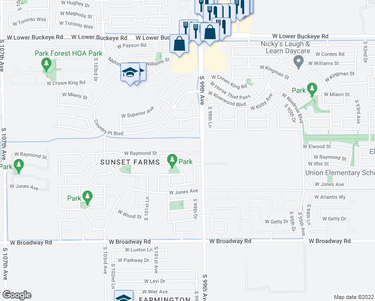 map of restaurants, bars, coffee shops, grocery stores, and more near 9930 West Raymond Street in Tolleson