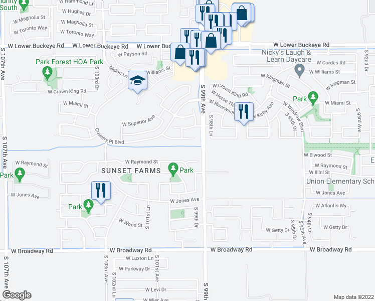 map of restaurants, bars, coffee shops, grocery stores, and more near 9934 West Raymond Street in Tolleson