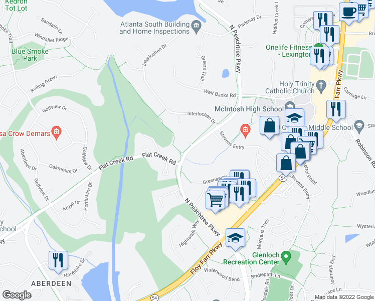 map of restaurants, bars, coffee shops, grocery stores, and more near 314 North Peachtree Parkway in Peachtree City