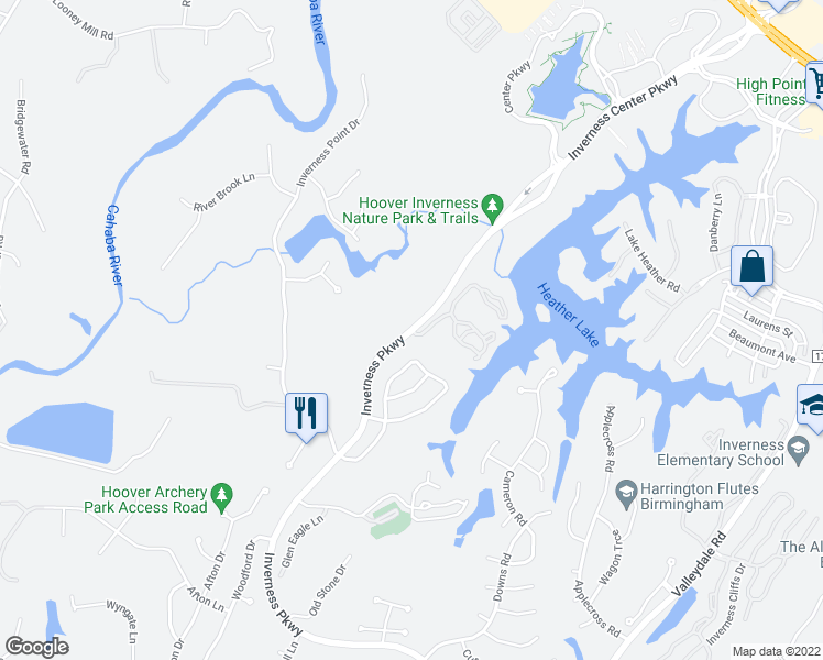 map of restaurants, bars, coffee shops, grocery stores, and more near Inverness Pkwy & Lake Heather Reserve in Hoover