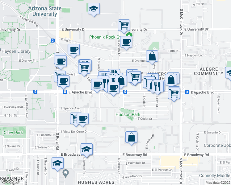 map of restaurants, bars, coffee shops, grocery stores, and more near 1221 East Apache Boulevard in Tempe