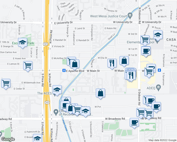 map of restaurants, bars, coffee shops, grocery stores, and more near 2433 West Main Street in Mesa