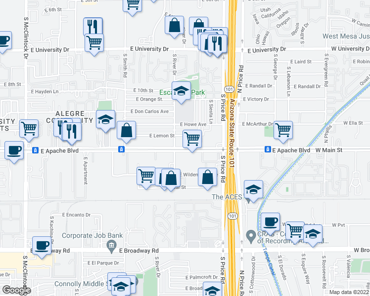 map of restaurants, bars, coffee shops, grocery stores, and more near 2106 East Apache Boulevard in Tempe