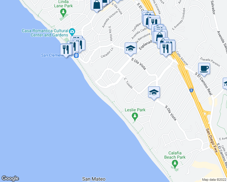 map of restaurants, bars, coffee shops, grocery stores, and more near 317 La Rambla in San Clemente