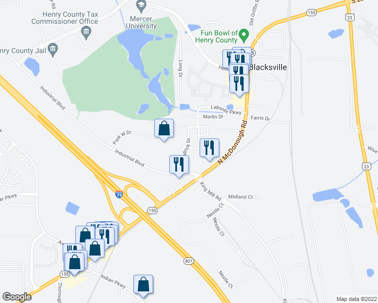 map of restaurants, bars, coffee shops, grocery stores, and more near 1955 Labonte Parkway in McDonough