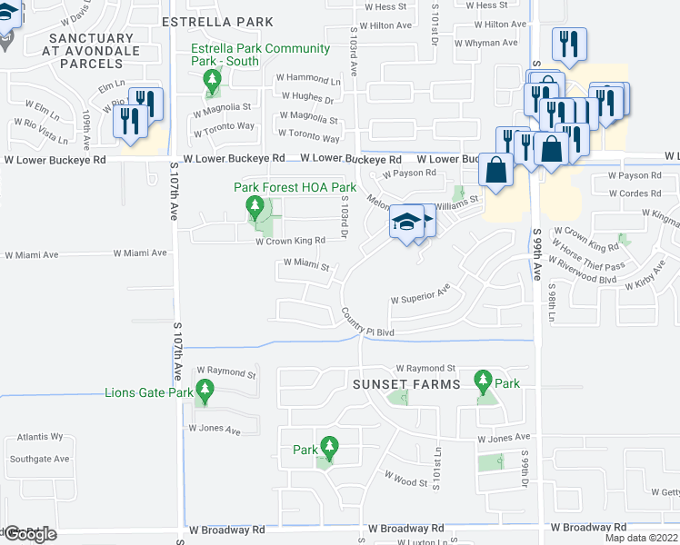 map of restaurants, bars, coffee shops, grocery stores, and more near 3213 South 103rd Drive in Tolleson