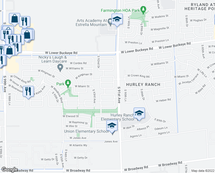 map of restaurants, bars, coffee shops, grocery stores, and more near 9128 West Globe Avenue in Tolleson