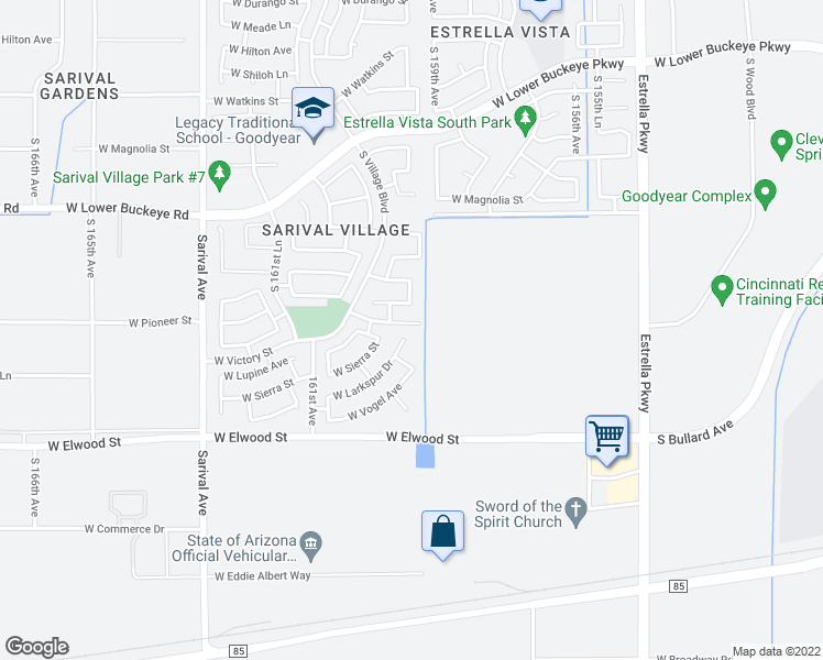 map of restaurants, bars, coffee shops, grocery stores, and more near 15939 West Larkspur Drive in Goodyear