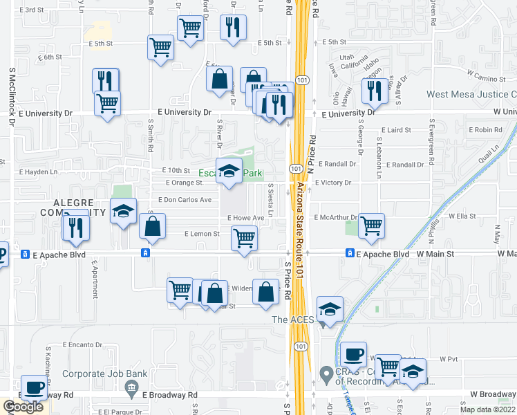 map of restaurants, bars, coffee shops, grocery stores, and more near 1023 South Lola Lane in Tempe