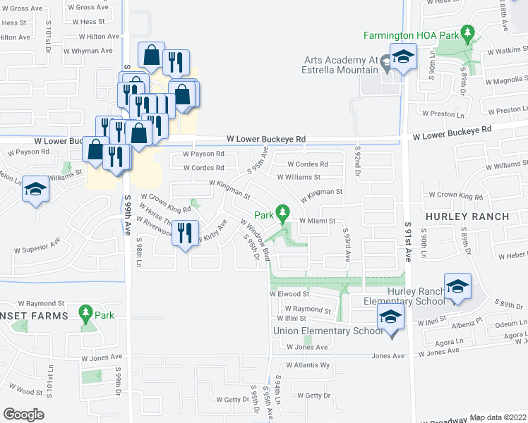 map of restaurants, bars, coffee shops, grocery stores, and more near 9521 West Kingman Street in Tolleson