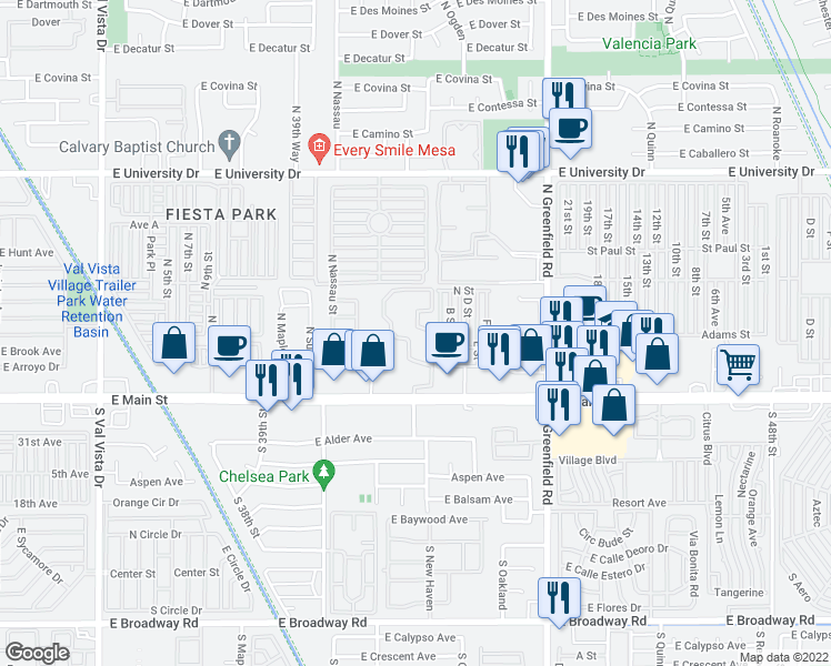 map of restaurants, bars, coffee shops, grocery stores, and more near 4150 East Main Street in Mesa