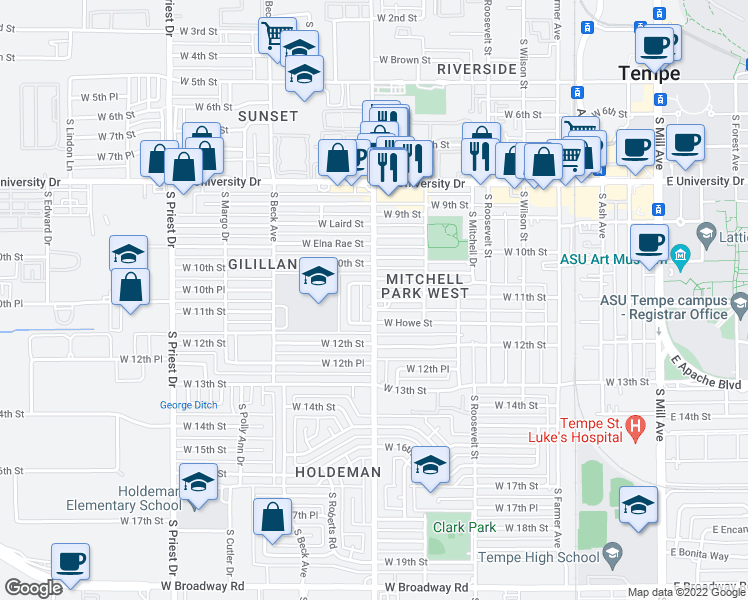 map of restaurants, bars, coffee shops, grocery stores, and more near Hardy Dr & W 11th St in Tempe