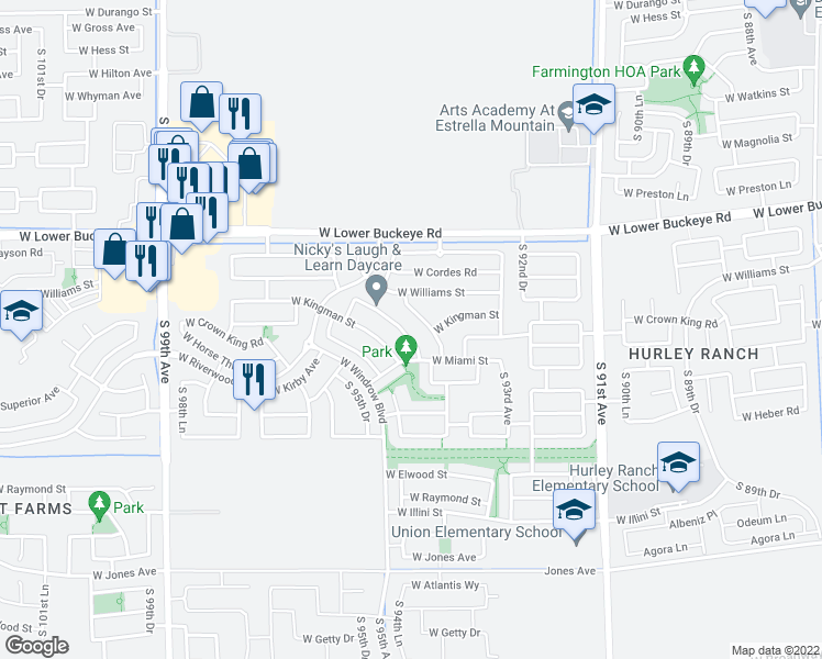 map of restaurants, bars, coffee shops, grocery stores, and more near 9522 West Williams Street in Tolleson