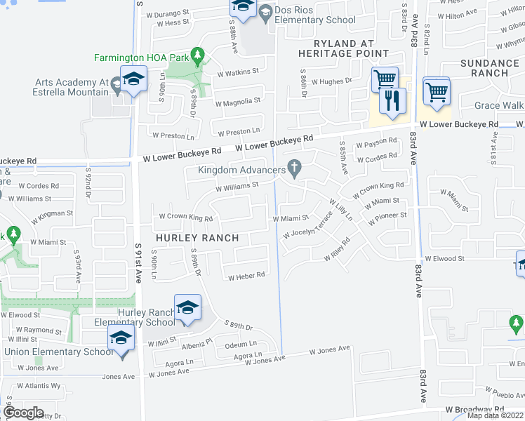 map of restaurants, bars, coffee shops, grocery stores, and more near 3120 South 87th Drive in Tolleson