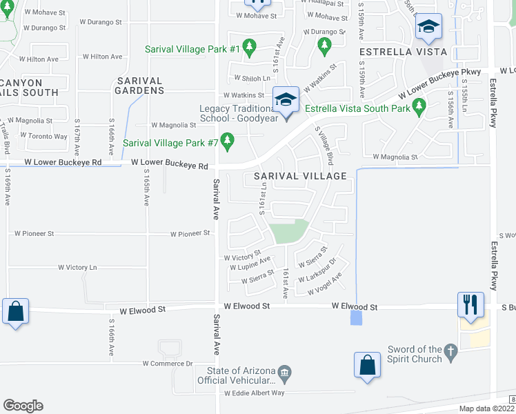 map of restaurants, bars, coffee shops, grocery stores, and more near 16181 West Williams Street in Goodyear