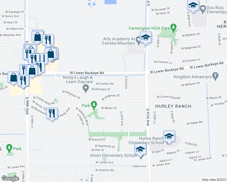 map of restaurants, bars, coffee shops, grocery stores, and more near 9327 West Williams Street in Tolleson