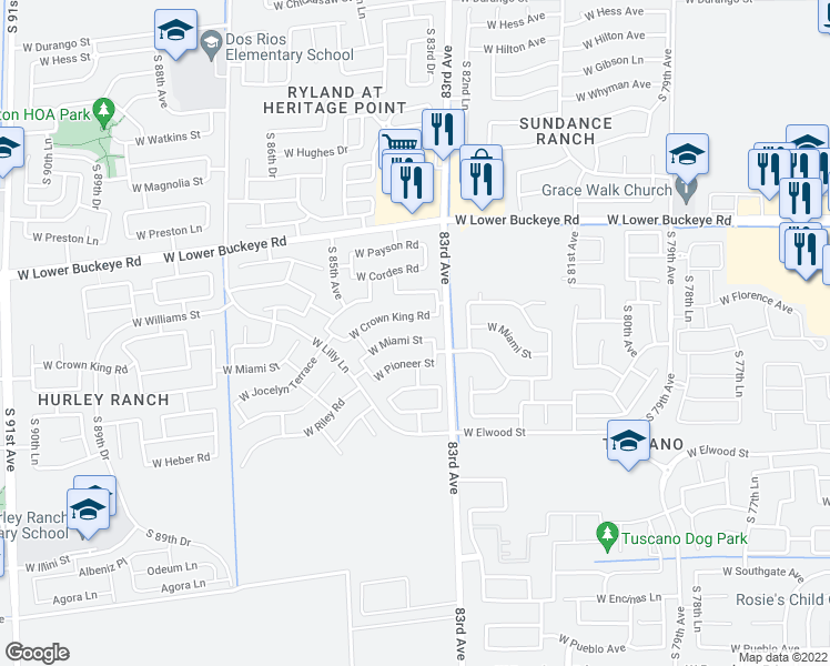 map of restaurants, bars, coffee shops, grocery stores, and more near 8322 West Miami Street in Tolleson
