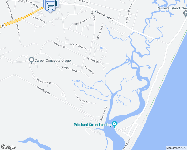 map of restaurants, bars, coffee shops, grocery stores, and more near 161 12 Oaks Drive in Pawleys Island