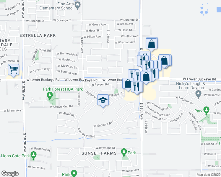 map of restaurants, bars, coffee shops, grocery stores, and more near 10106 West Cordes Road in Tolleson