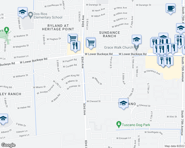 map of restaurants, bars, coffee shops, grocery stores, and more near 8223 West Florence Avenue in Phoenix