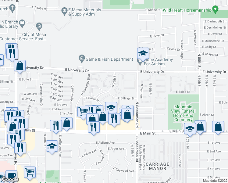 map of restaurants, bars, coffee shops, grocery stores, and more near 7520 East Billings Street in Mesa