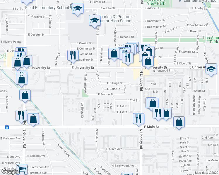 map of restaurants, bars, coffee shops, grocery stores, and more near 2532 East Boise Street in Mesa