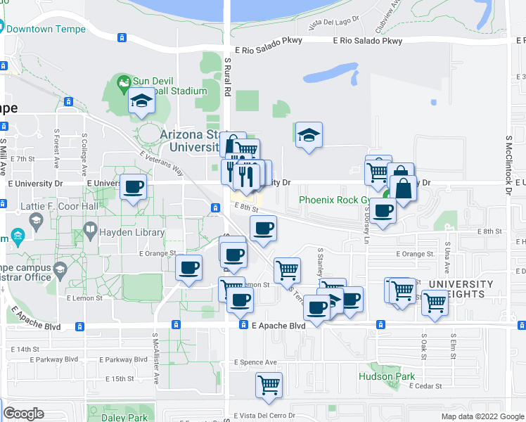 map of restaurants, bars, coffee shops, grocery stores, and more near 1011 East 8th Street in Tempe