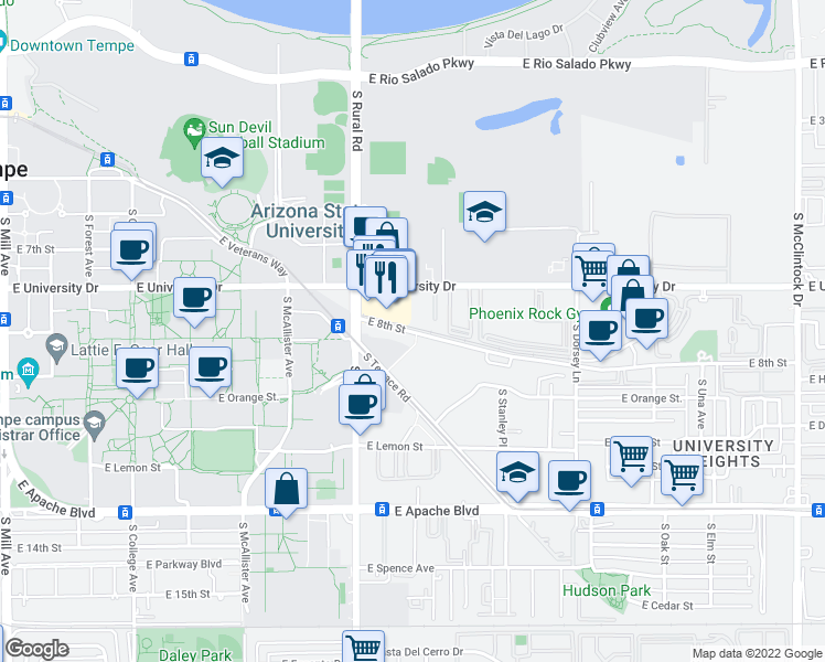 map of restaurants, bars, coffee shops, grocery stores, and more near 1011-1071 East 8th Street in Tempe