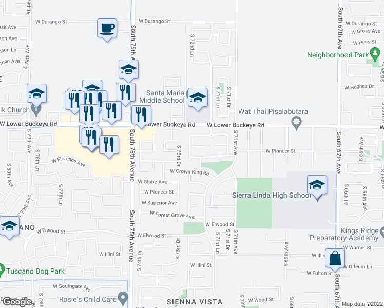 map of restaurants, bars, coffee shops, grocery stores, and more near 7246 West Kingman Street in Phoenix