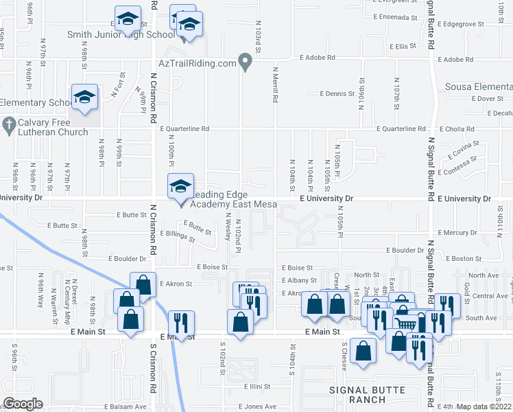 map of restaurants, bars, coffee shops, grocery stores, and more near 347 North 103rd Street in Mesa