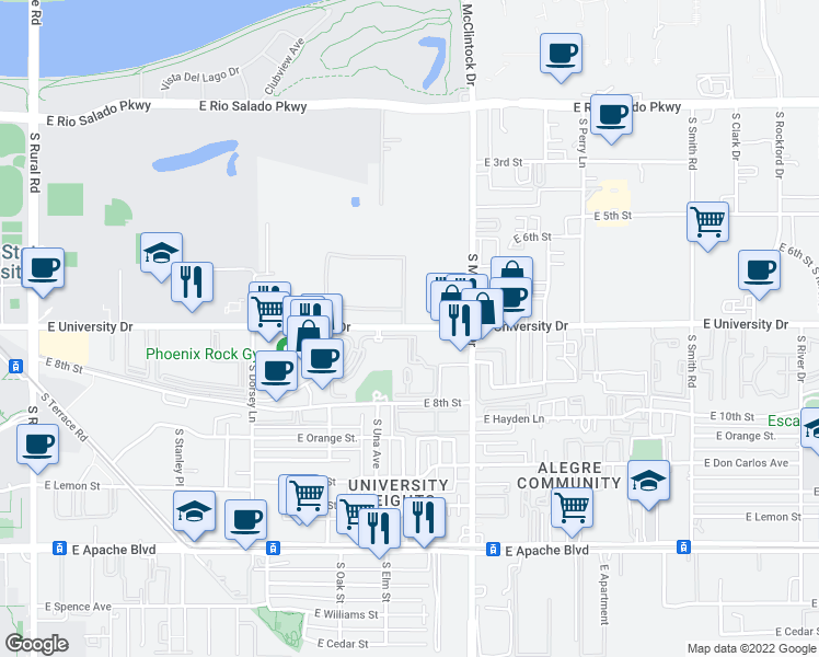 map of restaurants, bars, coffee shops, grocery stores, and more near East University Drive in Tempe