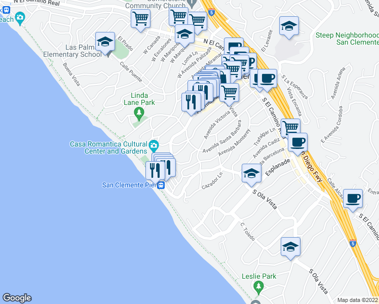 map of restaurants, bars, coffee shops, grocery stores, and more near 404 Avenida Santa Barbara in San Clemente