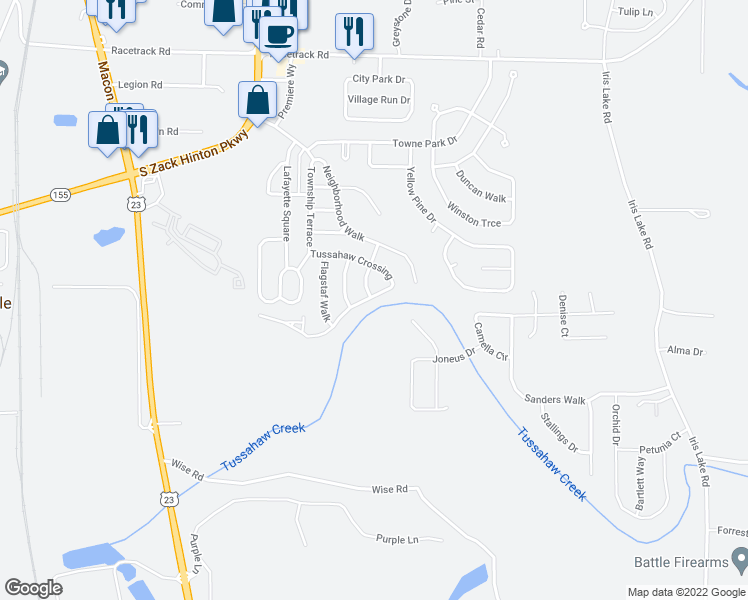 map of restaurants, bars, coffee shops, grocery stores, and more near 5100 Tussahaw Crossing in McDonough