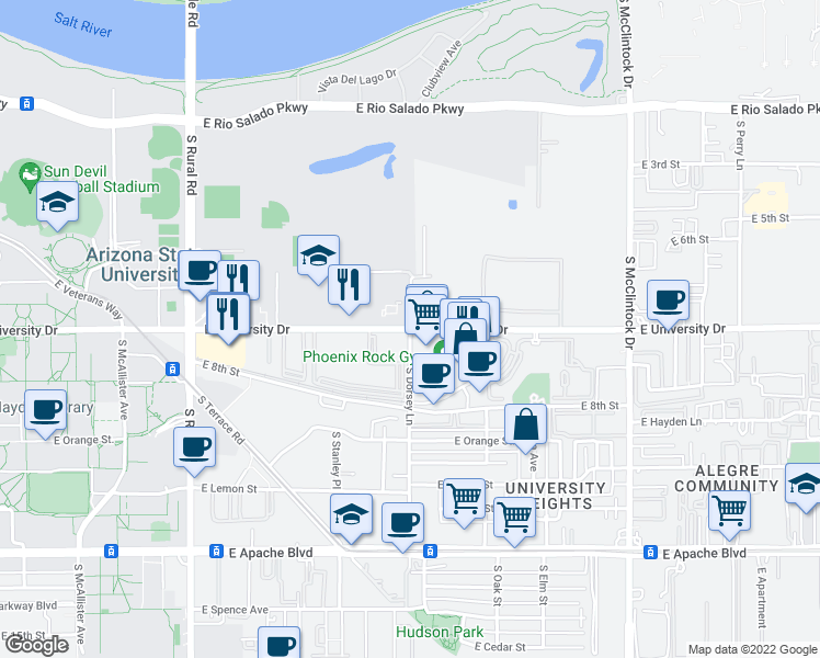 map of restaurants, bars, coffee shops, grocery stores, and more near E University Dr & S Dorsey Ln in Tempe