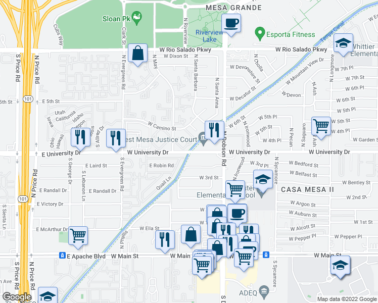 map of restaurants, bars, coffee shops, grocery stores, and more near Cactus Wren Road in Tempe