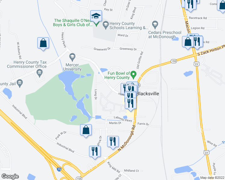 map of restaurants, bars, coffee shops, grocery stores, and more near Crossing Boulevard in McDonough