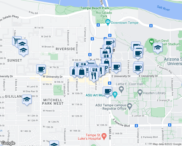 map of restaurants, bars, coffee shops, grocery stores, and more near 750 South Ash Avenue in Tempe