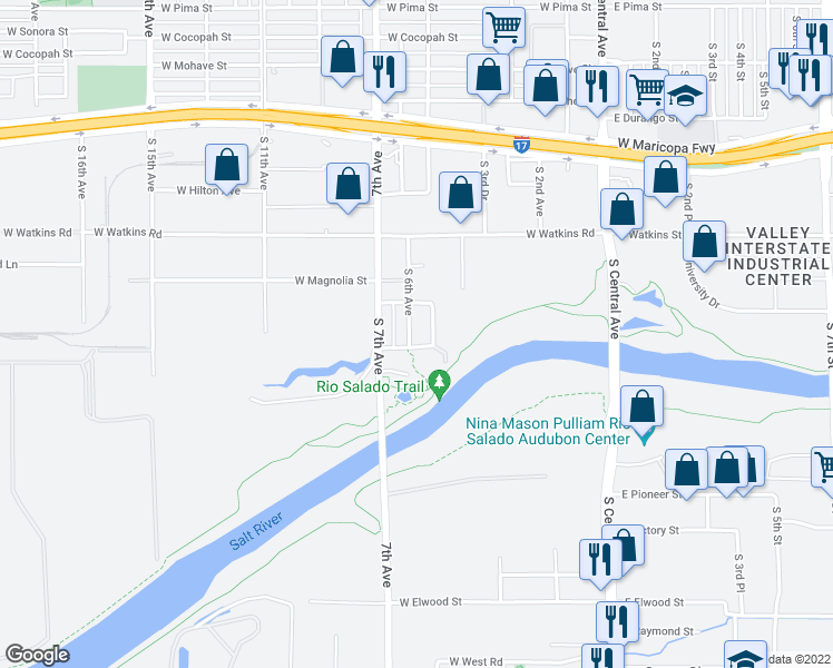 map of restaurants, bars, coffee shops, grocery stores, and more near 2525 South 6th Avenue in Phoenix