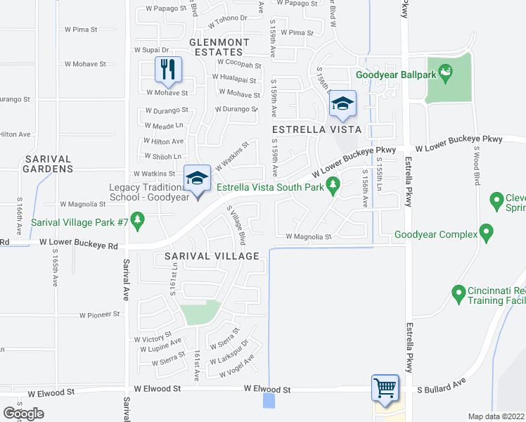 map of restaurants, bars, coffee shops, grocery stores, and more near 2713 South 159th Lane in Goodyear